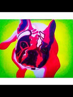 Abstract trippy dog acrylic painting art French bulldog