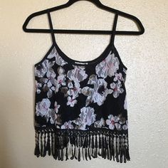 PacSun Black Flowered Lace Crop Top PacSun LA Hearts white and pink flowered print on a black background. All lace with a really soft interior. Black fringe surrounding the bottom. Black nonadjustable straps. Looks great with shorts or jeans. Size XS. PacSun Tops Crop Tops