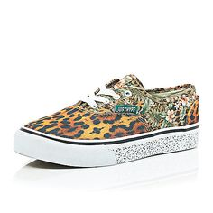 Brown Hype jungle print canvas trainers - shoes / boots - sale - women
