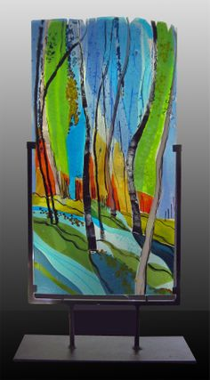 "Fused Glass Commission:  Panel 24"" high commissioned as an award for patron supporters of a NY non-profit."