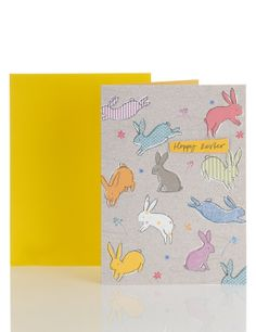 Classic Glitter Bunny Easter Card   M&S