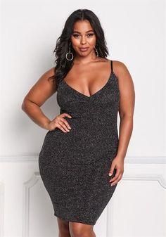 Plus Size Sparkle Plunge Bodycon Dress