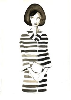 Marc Jacobs stripe blazer and skirt. Illustration by Jamie Wignall. #fashion #illustration