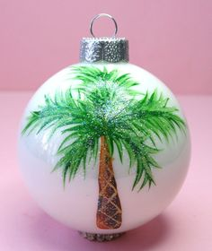 Large Palm Tree Ornament - Hand Painted Glass Ball Ornament - Baby's Birth or…