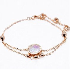 Color Crystal Round Beads Bracelets Rose Gold Plated Trendy Valentine's Gift New Top Brand Antique Fashion Jewelry Wholesale