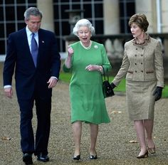During her reign the Queen has made 256 official visits to 129 countries around the world. Photo: the 43rd President of the United State George W. Bush (left),  President Bush's wife Laura Bush (right) and Queen Elizabeth II (center).