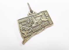 Vintage Sterling Silver Connecticut State Traditional Charm Pendant #2268…
