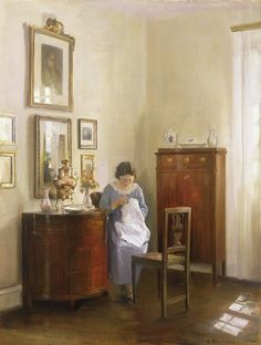 Carl Holsoe 'Interior with Lady Sewing, ca 1910.