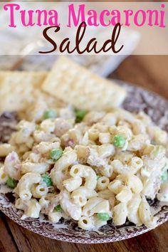 Tuna Macaroni Salad – Dips, appetizers, pasta salads, etc. Tuna Macaroni Salad, Recipe For Macaroni Salad, Elbow Macaroni Recipes, Cooking Recipes, Healthy Recipes, Healthy Meals, Diet Meals, Can Tuna Recipes, Cooking Games
