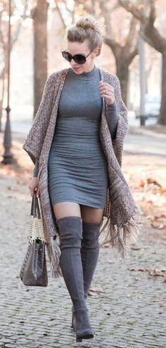 #fall #outfits women's grey turtle-neck mini dress