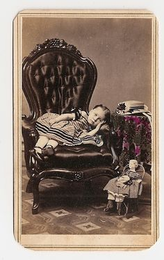 CDV USA Cute Girl Lying on Chair with Doll on Floor in Chair Sweet | eBay