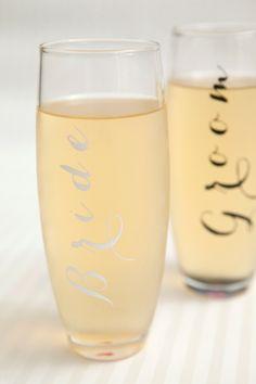 DIY Bride and Groom Champagne Glasses #12monthsofmartha #marthastewartcrafts