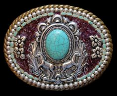 Western Horse and Faux Turquoise Belt Buckle with Genuine Garnet by KateSutcliffeMosaics on Etsy