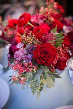 floral arrangement - red + lavender + pink inspiration