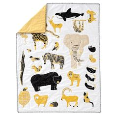 Catching a glimpse of your favorite wildlife has never been easier, thanks to the roaming herd on this animal toddler bedding set. Toddler Sheet Set, Toddler Themes, Toddler Rooms, Kids Rooms, Toddler Bed, Pottery Barn Teen Bedding, Teen Bedroom Designs, Girls Bedroom, Yellow Nursery
