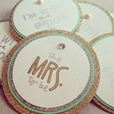 Gold with a pop of color | perfection. Bachelorette party name tags.
