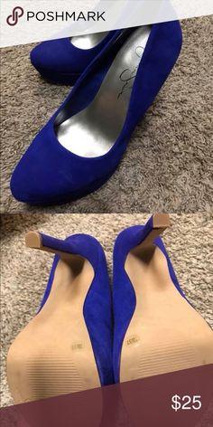 Jessica Simpson Pumps Blue suede platform pumps very clean NEVER worn outside Jessica Simpson Shoes Heels