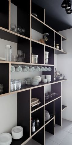Something like this for the shelves in the office? {plywood and plastic laminate shelves in kitchen in 'We' Hostel in Sao Paolo, Brazil by Felipe Hess and Guilherme Perez} Deco Design, Küchen Design, House Design, Design Ideas, Design Inspiration, Kitchen Shelves, Kitchen Storage, Book Shelves, Kitchen Cabinets