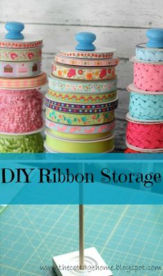 diy storage idea for ribbons from The Cottage Home (DIY Saturday featured project @ A Cultivated Nest)