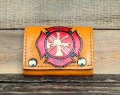 Firefighter Wallet - Firefighter Gift - Leather Wallet - gift idea for dad - biker wallet - tooled leather wallet - billfold - gift for men - Edit Listing - Etsy Tooled Leather, Leather Tooling, Leather Wallet, Firefighter Gifts, Biker, My Etsy Shop, Men, Accessories, Shopping