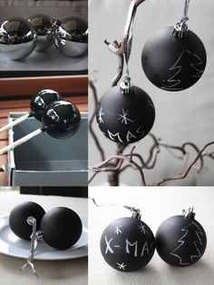 DIY Weihnachtskugeln mit Tafellack