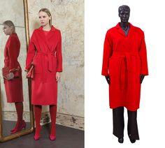 87cb4097d23 Красное пальто модного фасона халат. Стиль и элегантность данного пальто  придется по вкусу многим дамам. Модель с накладными карманами