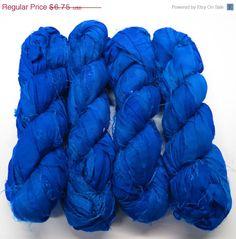 SALE 50g Recycled Sari Silk Ribbon, Prussian Blue