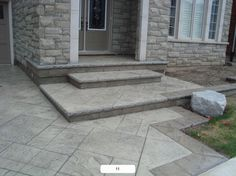 I like how wide the steps are. Ad how the merge into the other patio design Concrete Porch, Concrete Color, Concrete Steps, Stamped Concrete, Front Stairs, Front Porch, Back Steps, Paver Walkway, Porch Steps