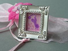 little about one inch size sterling silver frame with real glass. To be worn as necklace pendant or just place everywhere you like! www.dudek-shop.de #frame#shabby#footprint#vintage#necklace#pendant#painting#baby#cute#photo#keepsake
