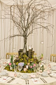 Wedding Decorations, Table Decorations, Woodland Garden, Spring Blooms, Center Pieces, Crow, Natural Wood, Cottage, Weddings