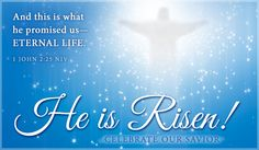 Free He is Risen eCard - eMail Free Personalized Easter Cards Online Christ Is Risen, He Is Risen, Jesus Christ, Holly Bible, Happy Easter Sunday, Resurrection Day, Easter Quotes, Easter Wishes, Online Greeting Cards