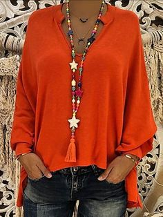 Compre Plus Size Blusas, Venda, Loja Online de Plus Size Blusas de Moda Feminina - Floryday Sexy Bluse, Batwing Sleeve, Long Sleeve, Short Sleeves, Plus Size Blouses, Blouse Styles, Blouses For Women, Red Blouses, Womens Fashion