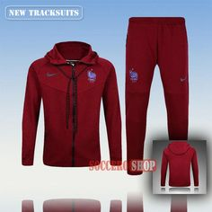 Top Quality Latest France Hooded Soccer Tracksuits Mens Full-Zip Red Thailand Customised 2016 2017 | Soccero-Shop