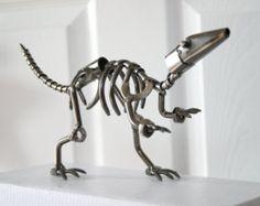 Dinosaur Bones Skeleton Fossil Statue - Metal Nuts and Bolts Statue Desk Sculpture - boys Room Decor - Birthday Gift, Anniversary Gift