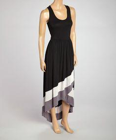 Look what I found on #zulily! Rain Black & Gray Scoop Neck Maxi Dress by Rain #zulilyfinds