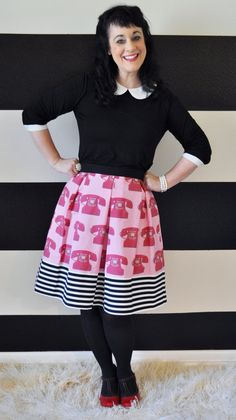 Hey, I found this really awesome Etsy listing at http://www.etsy.com/listing/159619057/pink-skirt-with-red-telephones-and-black