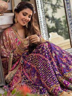 Luxury Bridal Anarkali Lehenga in Angarkha Style 2 Shadi Dresses, Pakistani Formal Dresses, Pakistani Wedding Outfits, Pakistani Dress Design, Bridal Outfits, Indian Dresses, Lehenga Wedding, Pakistani Mehndi Dress, Indian Clothes