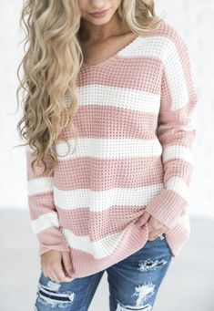 Pink Striped Pattern V-neck Fashion Wool Pullover Sweater