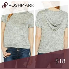 Gray Space Dye Short Sleeve Hoodie When the temperature drops, elevate your style in this cute sweater tee, made of a soft space dyed knit and featuring a snug hood and a banded bottom hem.  80% polyester  / 17% rayon / 3% spandex  Hand wash Tops Sweatshirts & Hoodies
