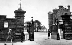 Tour Scotland Photographs: Old photograph of the gates to Maryhill Barracks in Glasgow, Scotland. These Scottish barracks were opened as Garrioch Barracks in Built to accommodate an infantry regiment, a squadron of cavalry and a battery of field artillery Scotland Kilt, Glasgow Scotland, Old Photographs, Old Photos, Glasgow Architecture, Glasgow City, Old Trees, Scandinavian Christmas, Color Photography