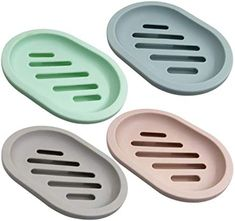 SENHAI 4Pcs Soap Dish for Shower Soap Box Soap Saver Case Holder with Drain for Bathroom Counter Shower Kitchen Keep Soap Dry and Clean 4 Colors - $9.00 - 5.0 out of 5 stars - Bathtub Tray Soap Dish For Shower, Shower Soap, Bathtub Tray, Soap Boxes, Soap Holder, Layers Design, Cleaning, Dishes, Bathroom