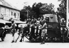 Troops in the street during Siam's 1932 coup