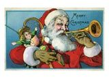 Merry Christmas with Santa Claus Blowing a Horn. Merry Christmas with Santa Claus Blowing a Horn Giclee Print by. Product size approximately 18 x 24 inches. Available at Art.com. Embrace your Space - your source for high quality fine art posters and prints.. Price: $49.99