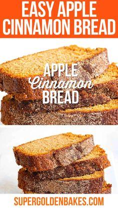 Quick and Easy Apple Cinnamon Bread  - Supergolden Bakes Quick Apple Dessert, Healthy Apple Desserts, Apple Dessert Recipes, Quick Easy Desserts, Easy Bread Recipes, Cake Mix Recipes, Quick Bread, Apple Recipes, Baking Recipes