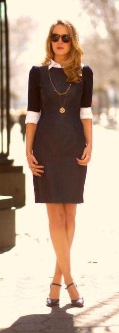 Navy leather sheath dress - Miladies.net