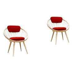 Very nice set of circle chairs, by some attributed to Yngve Ekstrom, however these are Italian and marked underneath with label saying GESSEF. The chairs were re-upholstered and are just stunning...