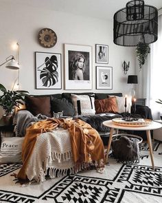 Boho living Room Decor - Does a living room have to be next to the kitchen? Boho living Room Decor - Can a living room be at the front of the house? Apartment Living, Fall Living Room Decor, Modern Boho Living Room, Black And White Living Room, Red Furniture Living Room, Black Living Room, Living Furniture, Brown Living Room, Living Decor