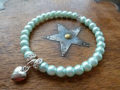 NOW SOLD! Seafoam glass pearl & crystal rondelle bracelet with silver heart charm created by LovesVintage43, £5.25