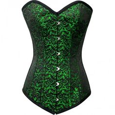 Green Brocade Sweetheart Overbust Corset ($79) ❤ liked on Polyvore featuring brocade top, corsette tops, sweetheart neck top, sweetheart corset top and green corset