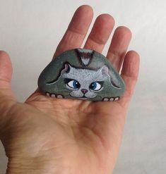 Hand Painted Rock Cat Miniature. Petrified Cat by qvistdesign